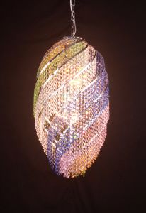 卵形の水晶ペンダント灯、水晶照明、水晶シャンデリア、中断ライト、装飾的な照明