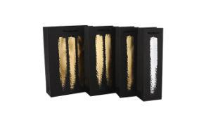 簡単でしかし優雅なデザイン黒のクラフトのペーパーワインのギフトは1本のびん2のびんを3つのびんの買物袋袋に入れる