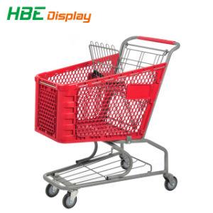 Qualitäts-drücken Großhandelsplastiksupermarkt-Lebensmittelgeschäft Einkaufswagen von Hand ein