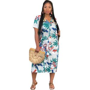 L51493 Short Sleeve fleur robe col V T-shirt imprimé