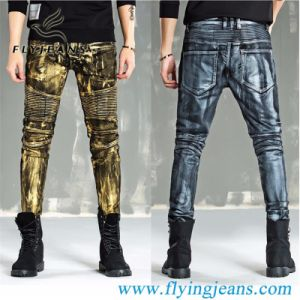 Revestimiento de oro/plata de la moda Denim lavado Preshrunk locomotora/Biker/Moto hombres Jeans (E. Pág. 3009)