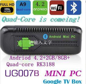 Ug007b Viererkabel-Kern Mini-PC mit Android 4.2 Rk3188 1.6GHz Fernsehapparat-Kasten volles HD 1080P/2160p DES RAM-2GB intelligentem ROM-8GB Bluetooth HDMI WiFi