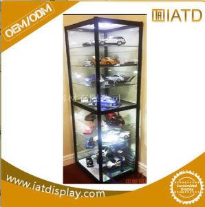 Janela pop-up display do armazenamento de melamina MDF Madeira Prateleira de parede do gabinete de vidro para uma mercadoria/Book/garrafa/lápis/ com bloqueio