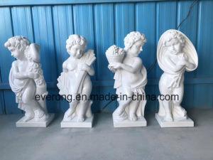 De zuivere Witte Engel die van de Baby van de Steen het Marmeren Standbeeld van het Beeldhouwwerk van de Cherubijn voor de Decoratie van de Tuin snijden