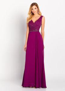 Perlé demoiselle d'honneur robes de soirée robe dentelle en mousseline Prom E13189