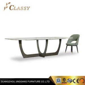 Aço inoxidável Mobiliário Base mármore moderna topo mesa de jantar