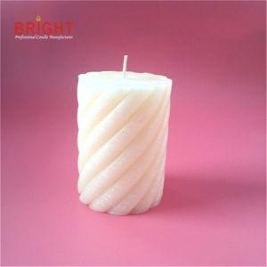 Espiral branca natural Vela Pilar rústica feita de parafina