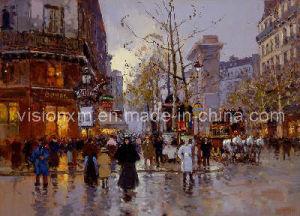 Pittura a olio delle vie di Parigi (SJMY1125)