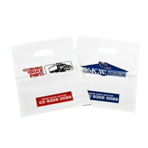 Eilbote-Plastiktaschen mit gestempelschnittenem Griff für Transport (FLD-8528)