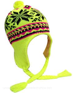 100%акриловый зимой Beanie Earflap Red Hat