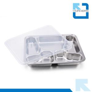 5 Compartiment en acier inoxydable en forme de papillon desservant le bac d'aliments de restauration rapide de la plaque du diviseur