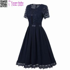 Sexy Vintage dentelle d'été col rond manches courtes robe de princesse L36176-4