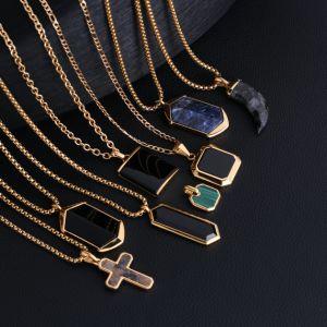 Mode hommes acier inoxydable bijoux pendentif Druzy naturel Agate Pierre Collier en pierres précieuses