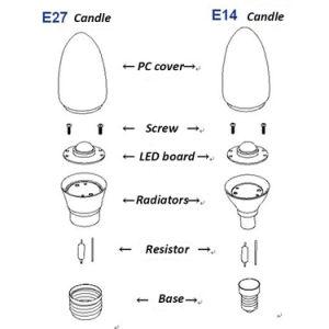 De gloeilamp van de vrije LEIDENE van de Steekproef E14 Kaars van de Gloeidraad C35