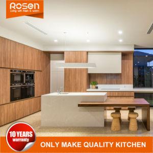 Folheado de madeira de alta tecnologia e mobiliário de armários de cozinha de Tinta Branca