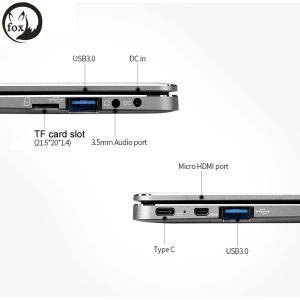 Laptop FHD van de vos vierling-Kernen ROM Emmc USB3.0 type-C Laptop Windows10 van de RAM van het Meer N3450 van Intel Apollo 4GB 64GB van het Notitieboekje van 14.1 Duim