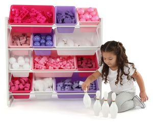 خشبيّة لعب تخزين من مع 12 بلاستيكيّة خانة مضاعفة لوح