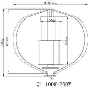 100W 12/24V Q1 Eixo Vertical Gerador de turbina eólica arranca com 1,5m/s 6 PCS