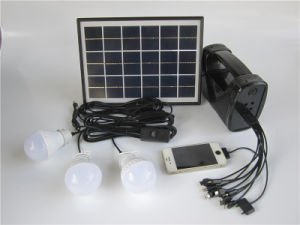 Mini Camping Casa 5W Sistema de iluminación solar cargador de móvil