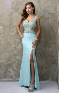 Sexy kleedt de v-Halslijn Partij Prom de Avondjurk Nc1217 van de Kralenversiering van het Gat