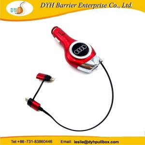 携帯電話のための1匹のコネクターの引き込み式ケーブルユニバーサル車の充電器に付き卸し売り耐久財3匹