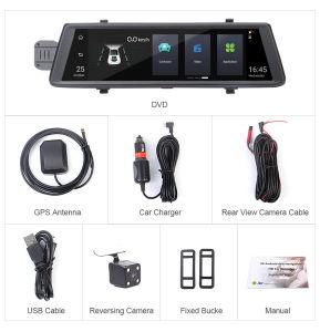 10Polegadas WiFi Android 3G carro espelho GPS Navigator Dashcam 3 em 1 DVR Gravador de vídeo Full HD Lente dupla câmara1080p duas câmaras DVR