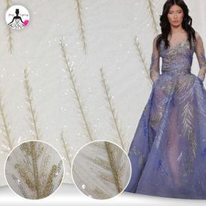 贅沢なテュルのスパンコールの網の服の優雅な花嫁のレースファブリックイブニング・ドレス