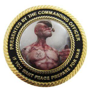 刻まれるレーザー砂を吹き付ける金属のクラフトのカスタム金の記念品の硬貨(099)に