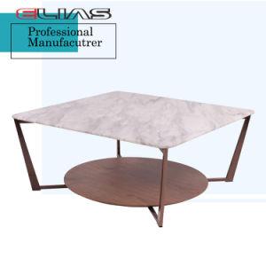 大理石の上のクルミのベニヤのコーヒーテーブル