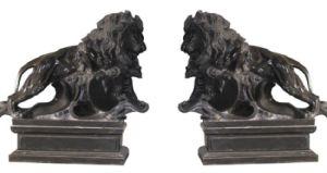 Jardin extérieur en marbre noir Lion statue de pierre Sculpture de marche