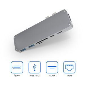 Super Rápido aluminio reversible 7 puerto USB de alta velocidad tipo C Por 3.0 Hub Hub USB
