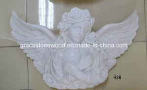 Kleine Marmeren Engel Relievo voor Decoratie