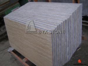 Panneau en aluminium de nid d'abeilles de pierre beige de travertin pour la tuile de mur