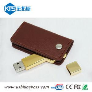 Лучшее качество металлической вставки флэш-накопитель USB с покрытие из натуральной кожи