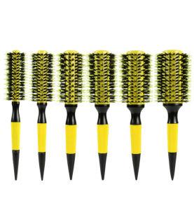 Escova de cabelo redonda profissional Canhão de alumínio térmica com cerdas de javali Natural e pega de madeira para soprar o estilo de secagem de madeira para cachos Escova de cabelo