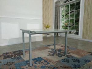 Extensión de la moderna fábrica de vidrio metálico plateado blanco juego de mesa de comedor Muebles