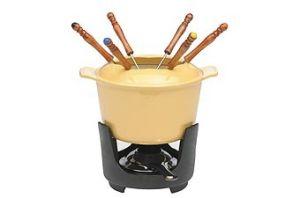 エナメルの鋳鉄のチーズFondueは6つのフォークとセットした
