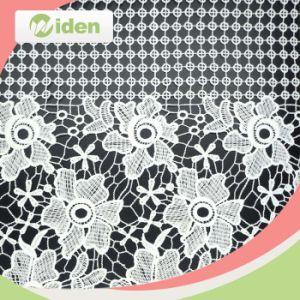 100 % poliéster lechoso de la moda de encaje bordado de encaje tejido química