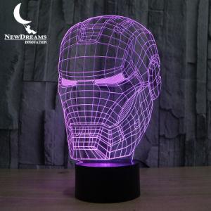 Câble USB 7 couleurs modifiable 3D enfants Iron Man Avengers lampe de table de bureau à LED