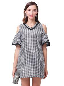 新しいV首のとサイズは格子縞の漏出肩の緩いステッチの服に服を着せる