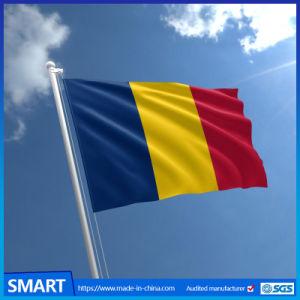 ポリエステル国の青く黄色い赤旗の印刷