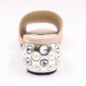 宝石デザインかかとが付いているピンクの容易な摩耗の女性のサンダル