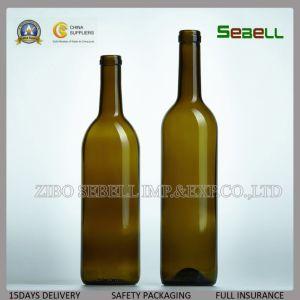 Bottiglia di vetro della parte superiore del sughero del vino rosso 750ml del commestibile (NA-040)