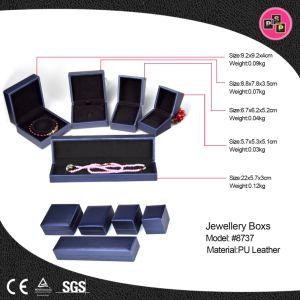 Violet cuir synthétique haut de gamme de bijoux collier de bague de zone d'affichage (8737)