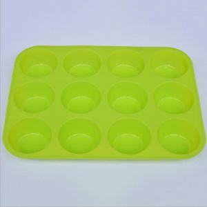 Non-Toxic Grau Alimentício 12 Cup Silicone Bolo de cozedura e molde Muffin