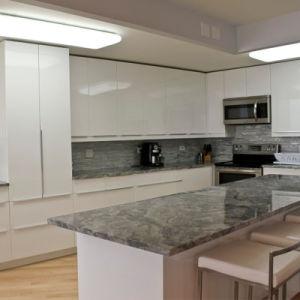 Novo Modelo de projeto de luxo armário de cozinha com Ilha Carpintaria
