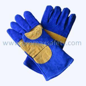 두 배 종려 파란 암소 쪼개지는 용접 가죽 안전 일 장갑