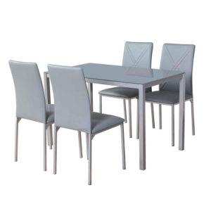 Base metálica simple personalizada moderna Gris vidrio templado Cuadrado superior Rectangular 6 asientos Alto brillante estilo francés barato comedor en casa Conjunto de tablas
