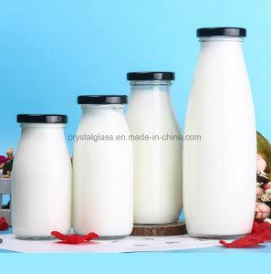 Vidro reciclado de garrafas de leite com tampa de encaixe de Metal
