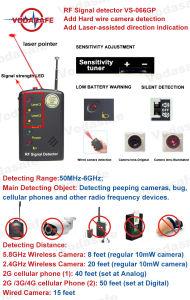 El objeto principal de la detección de: detección de Peeping, corrección de las cámaras, teléfonos celulares y otros dispositivos de radiofrecuencia de 2,4 Ghz, 2g de 5,8 Ghz